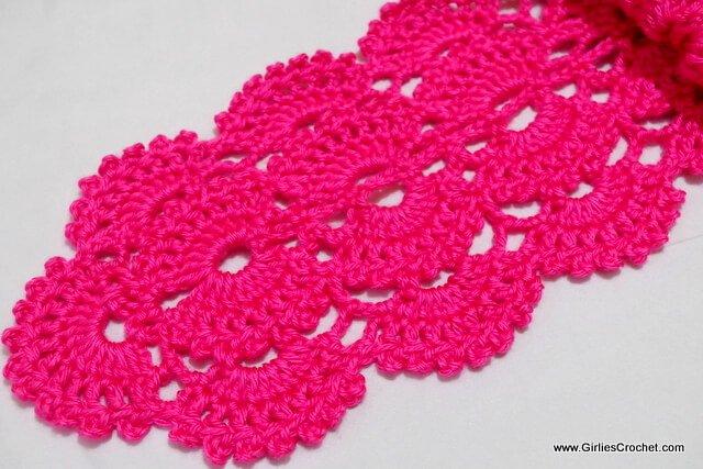 free crochet pattern, gina crochet scarf, fan stitch, easy