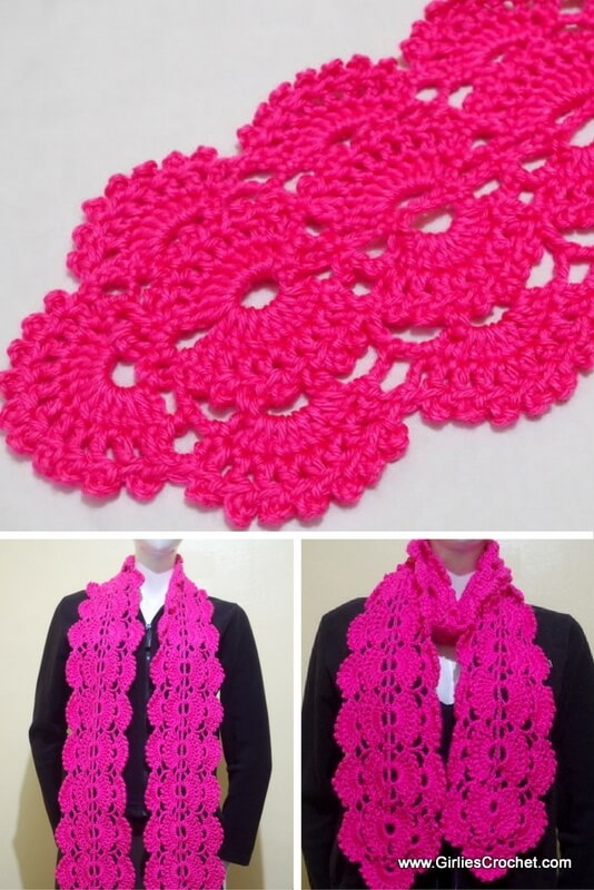 free crochet pattern, gina crochet scarf, fan stitch, easy