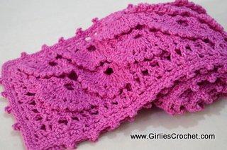 free crochet scarf, fan stitch