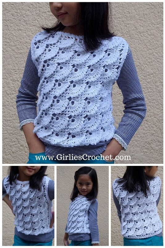 gelnda vest, free crochet pattern, easy, vest for kid's, fan stitch, pattern for beginners