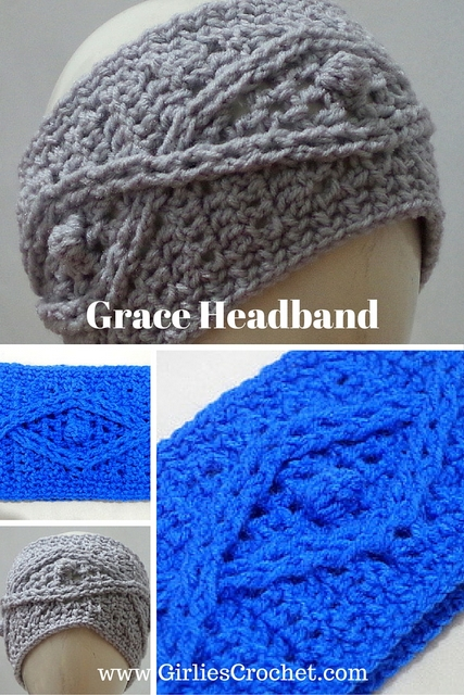 crochet headband, ear warmer, cable stitch, red heart