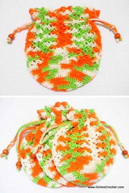 kids wrist pouch, free crochet pattern