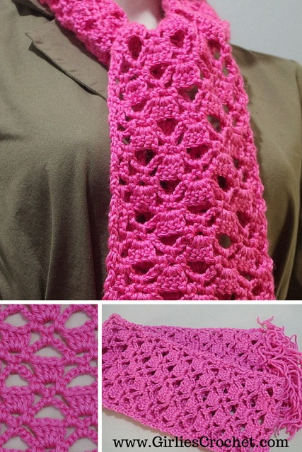 Easy Free Crochet Scarf Patterns Beginners : Lacy Scarf
