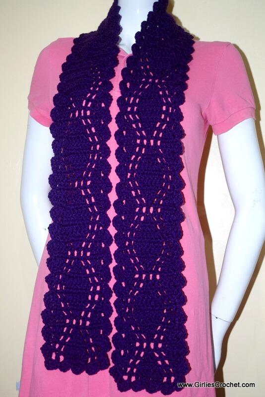 lucy diamond scarf, free crochet pattern, easy