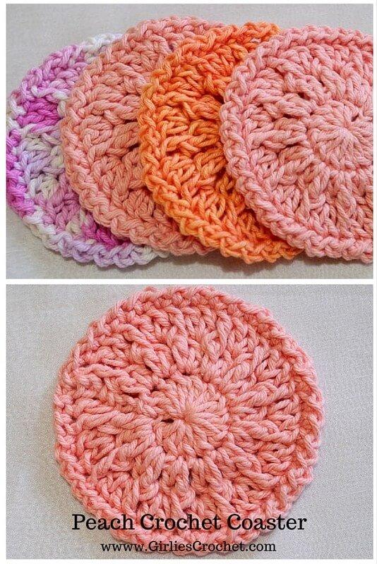 peach crochet coaster, free crochet pattern, easy, beginner's pattern