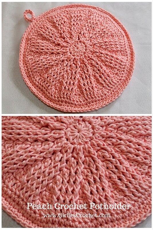 peach crochet potholder, free crochet pattern, easy, beginner's pattern