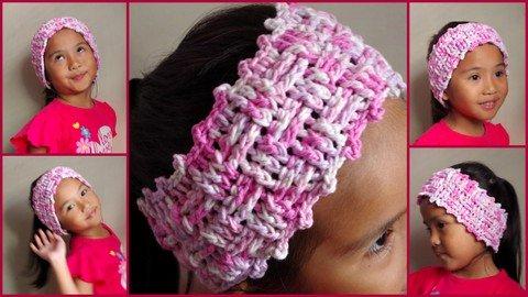free crochet pattern, pink crochet headband, ear warmer, pink headband, for kids, basket weave stitch, easy,