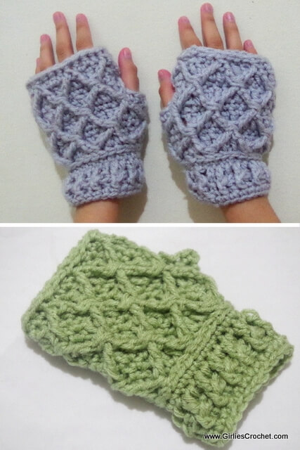free crochet pattern for Rheema Fingerless Mitten