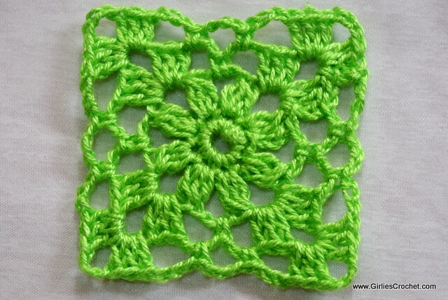 crochet square motif, free crochet pattern, green, easy, photo tutorial