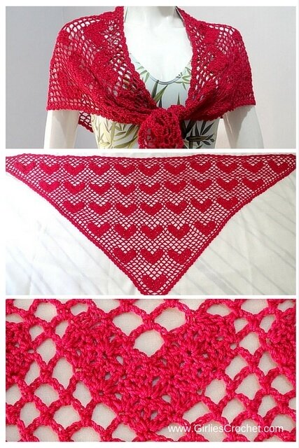 sweet heart shawl, free crochet pattern, beginners pattern, easy, spring, lacy, red shawl