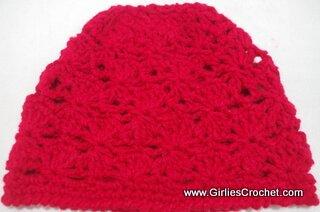 free crochet pattern, fan stitch, cluster stitch, photo tutorial, red heart super saver